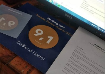 Booking Guest review Award 2020 DaBlend Hostel