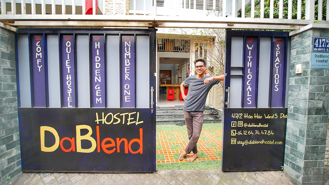 Nicolas, the owner of DaBlend Hostel at the gate of the Best hostel in Saigon